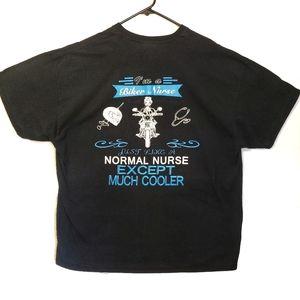 Gildan Biker Nurse Graphic Tshirt Black White Blue